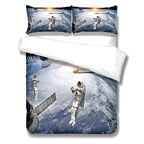 MENGBB Funda Nórdica de Microfibra 3 Piezas Planeta Astronauta Transbordador Espacial 135X200cm Ropa de Cama Infantil 90 Niña 3 Piezas