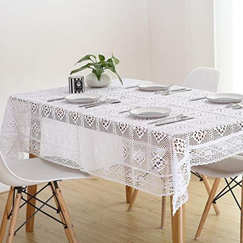 siqiwl Blanco Encaje Crocheted Mantel Algodón Rectángulo Mantel Hogar Hotel Textile Decor 130x180cm blanco