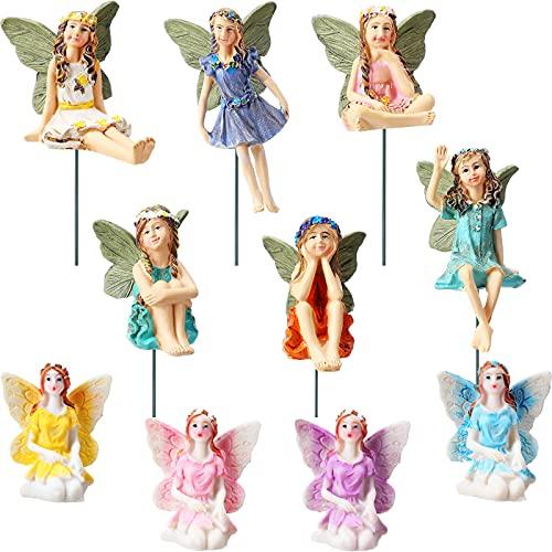 10 Accesorios de Jardín de Resina de Hadas Decoraciones de Figuras de Hadas en Miniatura Pintadas a Mano para Decoración y Adornos de Jardín Césped Interior Exterior