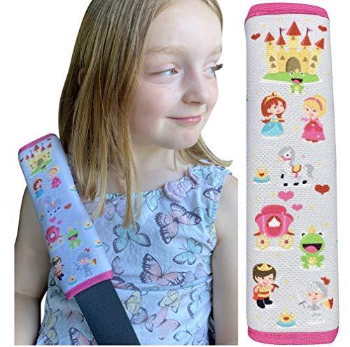 HECKBO 1x Prinzessin Kinder Auto Sicherheitsgurt - 21 x 6cm - Gurtschoner Kissen Autositz Gurt Fahrradsitz Gurt Gurtpolster für Sitzerhöhung Gurtschutz