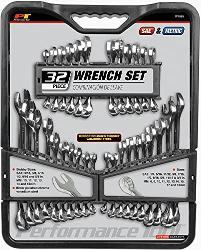Performance Tool W1099 32-Piece SAE and Metric Wrench Set with Premium Mirror Polished Chrome Vanadium Steel and Organizer Tray