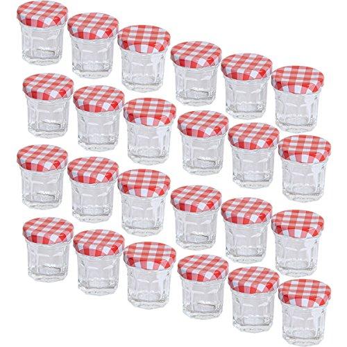 MC-Trend 24er Set Mini Einmachgläser Marmeladenglas 30ml Schraubdeckel rot kariert DIY do it Yourself (24 Stück)