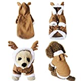 Yoption Puppy Dog Cat Christmas Reindeer Costumes, Pet Cosplay Dress, Warm Fleece Hoodie Coat Clothes, Jumpsuit Outfit Apparel