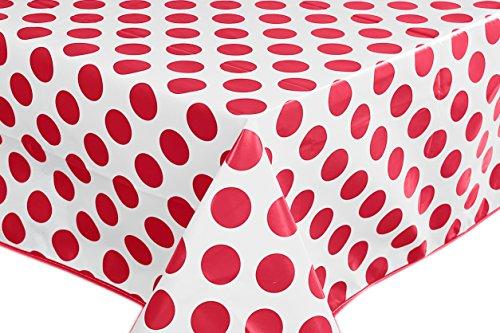 Nappe toile cirée PVC Rectangulaire 140 x 240 cm à pois Rouge Blanc