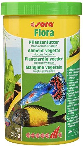 Sera Flora Plantaardige visvoer, vlokkenvoer voor levende baarden, malawi en tanganjica in het aquarium voor verbeterde voederrecycling, lagere waterbelasting en minder algen, 1 Ltr, klassiek