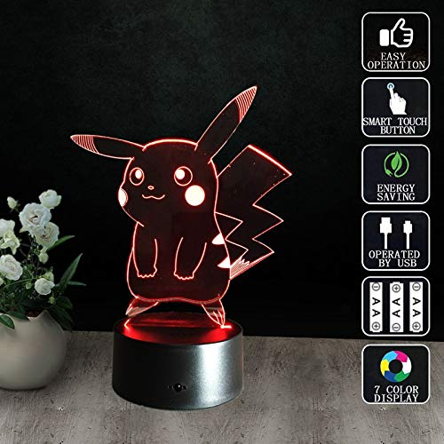 Neue Pokemon Pikachu Halloween Tasche Monster Nachtlicht 3D LED USB Tischlampe Kinder Geburtstagsgeschenk Nachtzimmer Dekoration