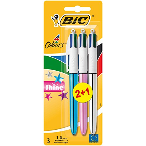 BIC 4 colors Shine Retractable Ballpoint pen mid tip (1,0 mm) - Assorted Metallic colors, 2 Blister + 1