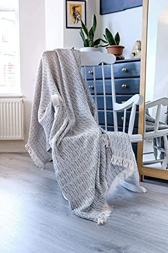 Große natürliche Baumwoll-Strickdecke für Sofa, Couch, Sessel, Bett, Bauernhaus & Heimdekoration, I Tagesdecke 170 x 200 cm (Wintergrau)