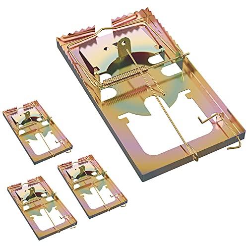 FEBCAT 4 Pezzi Trappola per Topi Ratti Riutilizzabile Controllo dei Ratti Anti Ruggine Uso Interno ed Esterno Metallo
