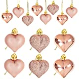 24Pcs Rose Gold Valentine's Day Heart Shaped Ornaments - Valentines Heart Decorations - Heart Shaped Baubles Ornaments for Home Tree - Romantic Valentine's Day Hanging Decorations
