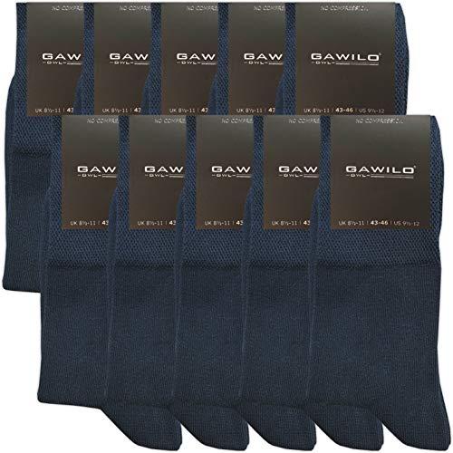 GAWILO 10 Paar PREMIUM Socken ohne drückende Naht   Damen und Herren   gekämmte Baumwolle   Komfortb&   Diabetiker geeignet (39-42, marine)