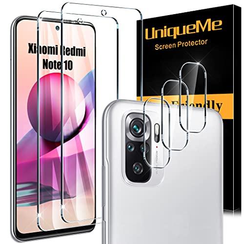 UniqueMe 2 Pack Protector de Pantalla Compatible con Xiaomi Redmi Note 10/10S y 3 Pack Protector de lente de cámara Cristal Templado,[Sin Burbujas] [No aplica para Xiaomi Redmi Note 10 5G]