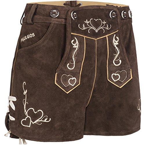 PAULGOS Damen Trachten Lederhose + Träger, Echtes Leder, Sexy Kurz, Hotpants in 2 Farben Gr. 34-42 H2 (38, Dunkelbraun)