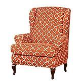 subrtex Ohrensessel Husse mit Muster Elastisch Bezug Überzug für Ohrenbackensessel Sesselbezug Stretch Passt Perfek (Orange)