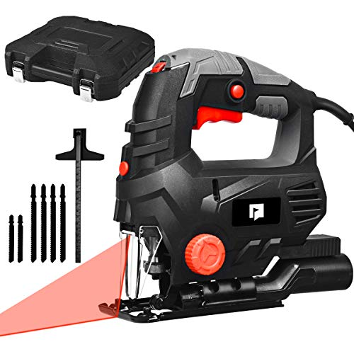 Goplus Jigsaw, 800W 3000SPM Jig Saw with Laser, Variable Speed, 6 Blades, Carrying Case, Powerful Copper Motor,...