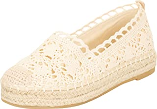 Cambridge Select Women's Closed Toe Crochet Lace Slip-On Chunky Espadrille Flatform