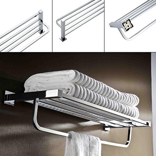 Kinse® 600mm (5 Stangen) Wandmontage Handtuchhalter Badetuchstange für mehrere Badetücher ,Edelstahl