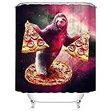 YPXXPY Duschvorhang Badezimmer Badvorhänge Wasserdicht Schnelltrocknend Polyester Stoff Badewanne Vorhang 180 x 180 cm, Faultier Pizza