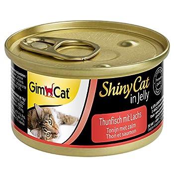 GimCat ShinyCat in Jelly Thon au saumon ? Nourriture humide pour chats au poisson et à la taurine ? 24 boîtes (24 à 70 g)