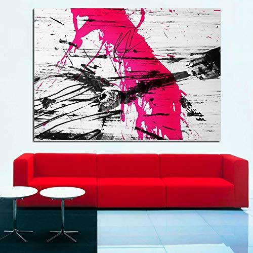 SADHAF Graffiti-schilderij, modern, abstract, rood, op canvas, wandschilderij, pop-art schilderijen, voor woonkamer 60x90cm (senza cornice) A5