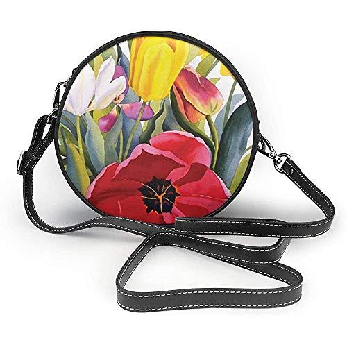 TURFED Tulip Garden Print Round Crossbody Bags Mujer Bolso de hombro Correa de cadena de cuero de PU ajustable y cremallera superior Bolso pequeño Asas Tote