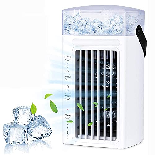 Portable Air Conditioner Fan, Personal Evaporative Quiet Air Cooler Desk Humidifier with 3-Speed Wind & 7 Colors LED Night Light for Home Office Outdoor