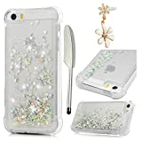 Compatible for iPhone SE Case, iPhone 5 Case, iPhone 5S Case, MOLLYCOOCLE Liquid Bling Glitter Sparkle TPU 3D Cute Star Flowing Floating Quicksand Liquid Plastic Soft TPU Slim Fit Cover, Silver