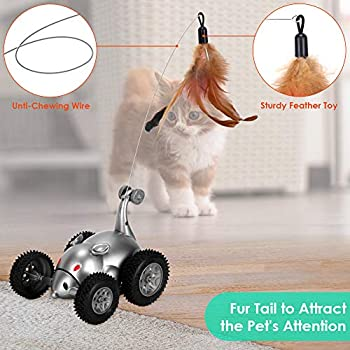 Slowton Jouet pour chat à distance en forme de souris interactif avec son robot automatique pour chaton – Stimule l'instinct de chasse du chat pet toys