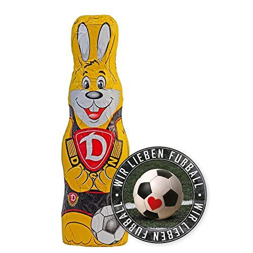 SG Dynamo Dresden Schokoladen Osterhase, Schokohase 150 g SGD - Plus Aufkleber Wir lieben Fussball
