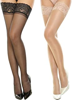Women's Glossy Lace Hold Ups Stockings Thigh Highs