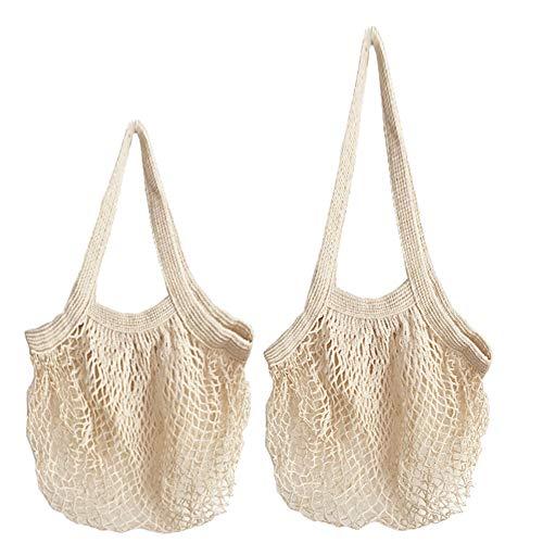 Bolsa Compra Red, Organizador de bolsas reutilizables de algodón para el mercado, Bolsas de productos de malla Bolsas de almacenamiento de alimentos ecológicos para frutas y verduras (paquete de 3)
