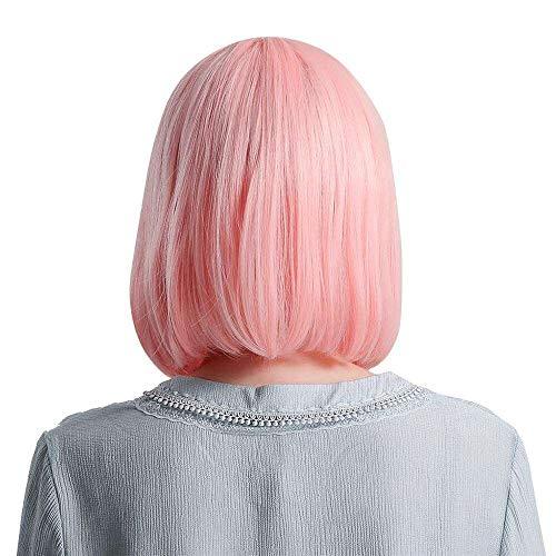 Yuyanshop Peluca sintética encantadora con flequillo romo, peluca corta para mujer, color blanco, negro, 34 cm