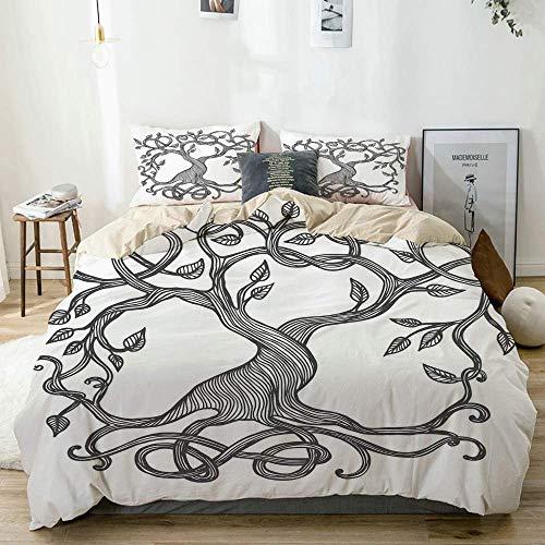 Juego de funda nórdica beige, figura esquemática de un único árbol de la vida celta con ramas y raíces largas en espiral, juego de cama decorativo de 3 piezas con 2 fundas de almohada Easy Care Anti-A