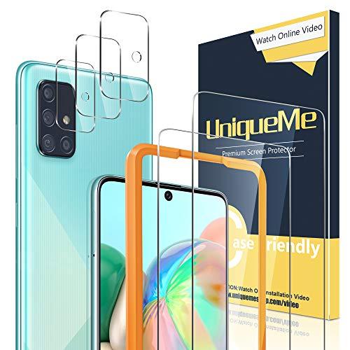 UniqueMe [2+3 Pezzi Pellicola Protettiva per Samsung Galaxy A71 4G / 5G + Pellicola Fotocamera per Samsung A71 Vetro Temperato con Un Perfetto Servizi