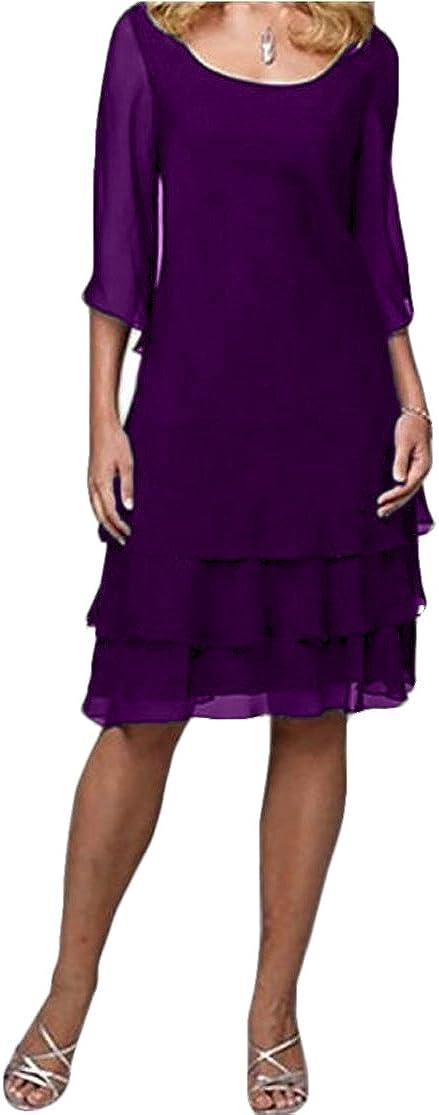The Peachess Elegant Scoop Knee Length Chiffon Mother of The Bride Dresses 2020