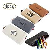 MINGZE 4 piezas Estuche de lápices Caja de lápiz de la pluma de la lona, bolsa del bolso de la papelería de la vendimia Bolsa de la bolsa de la moneda de los bolsos cosméticos