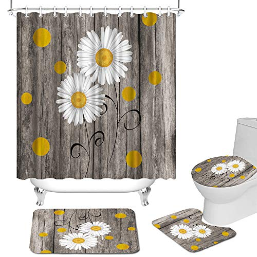 Yellow Daisy Shower Curtains Set Flower with Rustic Wood Background Bathroom Curtains Waterproof Fabric Vitnage Bathroom Curtains with Non-Slip Rug Toilet Lid Cover Bath Mat for Farmhouse