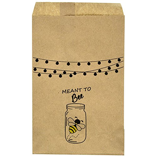 "Wedding Favor Bag - Thank You- Rustic - Mason Jar - Bee - Candy Bar – Treat Table – Candy Buffet - 9.25"" x 6.25"" Brown Kraft Bags – (20 pack)"