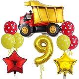 Ohaoduo Gran vehículo de construcción para decoración de cumpleaños de 9 años para niños – Globo con número 9, tamaño XXL, para vehículo de construcción