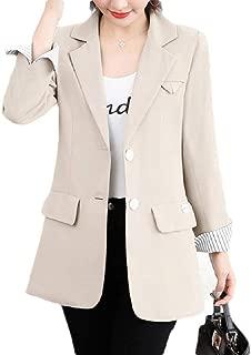 neveraway Women 2 Button Casual Office Notch Lapel Long Sleeve Blazer Jacket Coat
