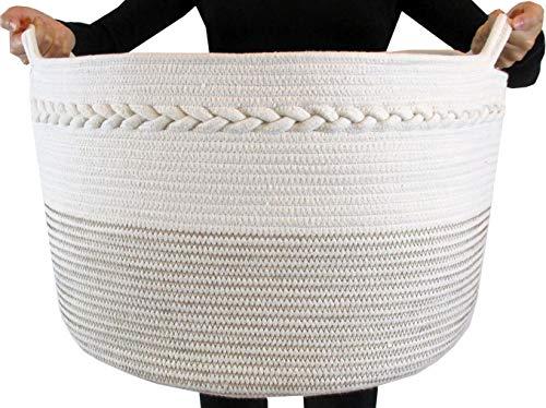 FRONT ARCH Cotton Rope Storage Basket - Decorative Woven Basket Great for Large Laundry Basket, Blanket Basket, Laundry Hamper, Kids & Babies Toy Basket, Toy Bin, XXL 20X 13.5