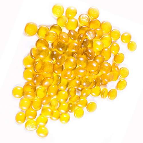 NE'EZ Piedras de vidrio Perlas Pepitas Mosaico Azulejos Gemas para decoración Acuarios Floreros, etc. (Color amarillo-200pcs-1kg)