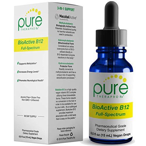 BioActive B12 Full-Spectrum (Sublingual Drops) 90 Day Supply: 4,000 mcg Per Serving   Includes 3-in-1 Bioavailable: Methylcobalamin, Adenosylcobalamin and Hydroxocobalamin   Vegan