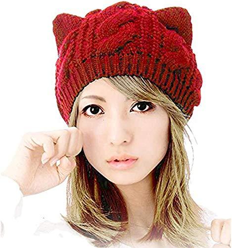 UmbWorld Women Girls Boys Teens Cute CAT Kitty Ears Knitted Crochet Cable Rib Hat Cap Beanie (Red)