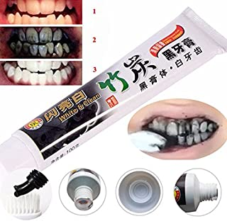Charcoal Black Toothpaste Natural Fresh Teeth Whitening,Active Bamboo ,Gum Protection,Black Charcoal Activated Toothpaste, Scouring Black Toothpaste Powder Health Fresher Breath