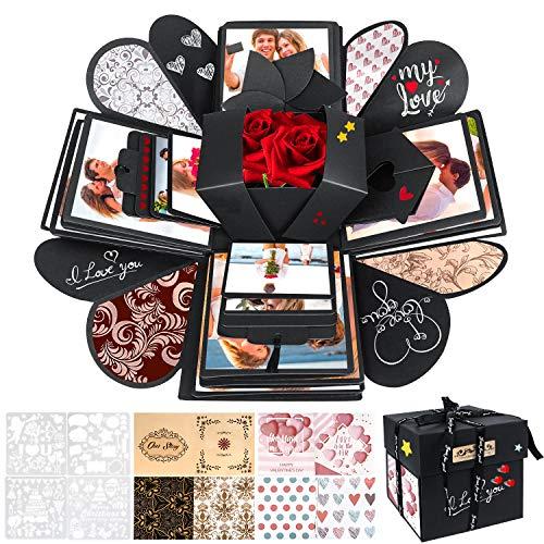 WisFox Überraschung Box, Kreative DIY Handgemachte Überraschung Explosion Geschenkbox Liebesgedächtnis, Scrapbooking Fotoalbum Geschenkbox zum Geburtstag Valentinstag Hochzeit Weihnachtsfest