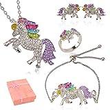 HOWAF 4 Pezzi Unicorno Gioielli Set per Ragazze, Unicorno Collane Bracciali Anelli Orecchini Pendenti Decorazione per Bambini Unicorno Compleanno Regalo Bomboniera Ornamenti