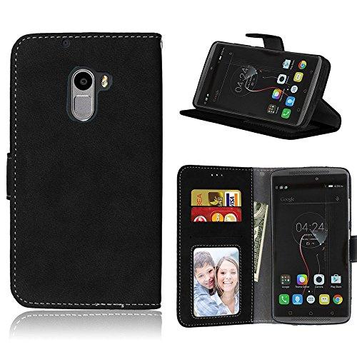Handy Kasten für Lenovo Vibe K4 Note A7010/Vibe X3 Lite,Bookstyle 3 Card Slot PU Leder Hülle Interner Schutz Schutzhülle Handy Taschen(Schwarz)