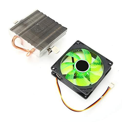 Enfriador de CPU CPU con Conector de 3 Pines Evita la deformación Aletas densas de Aluminio Resistente Gran Volumen de Aire Alto(Verde)