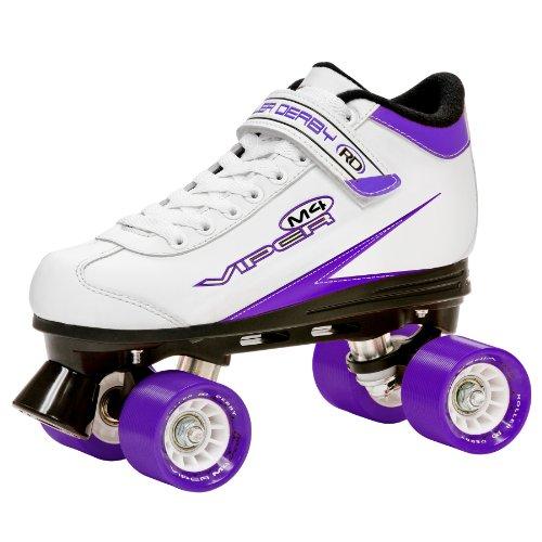 Roller Derby Rollschuhe Viper M4 Women's Speed Quad Skate, Weiß/Lila/Schwarz, 5